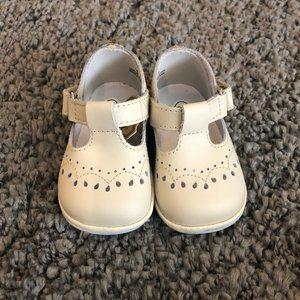 Girls Angel Ecru Leather T Strap Shoes